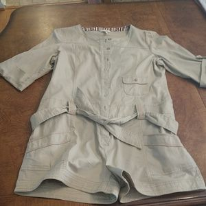 Old Navy beige one piece shorts outfit. Large.